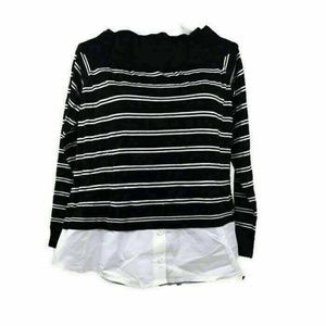 INC Womens Sweater Off The Shoulder Black White